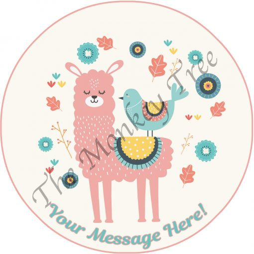 llama and bird vintage look shabby chic edible cake image topper fondant birthday cupcake