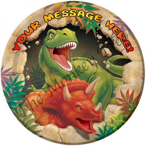 t rex dinosaur edible cake image fondant jurassic triceratops