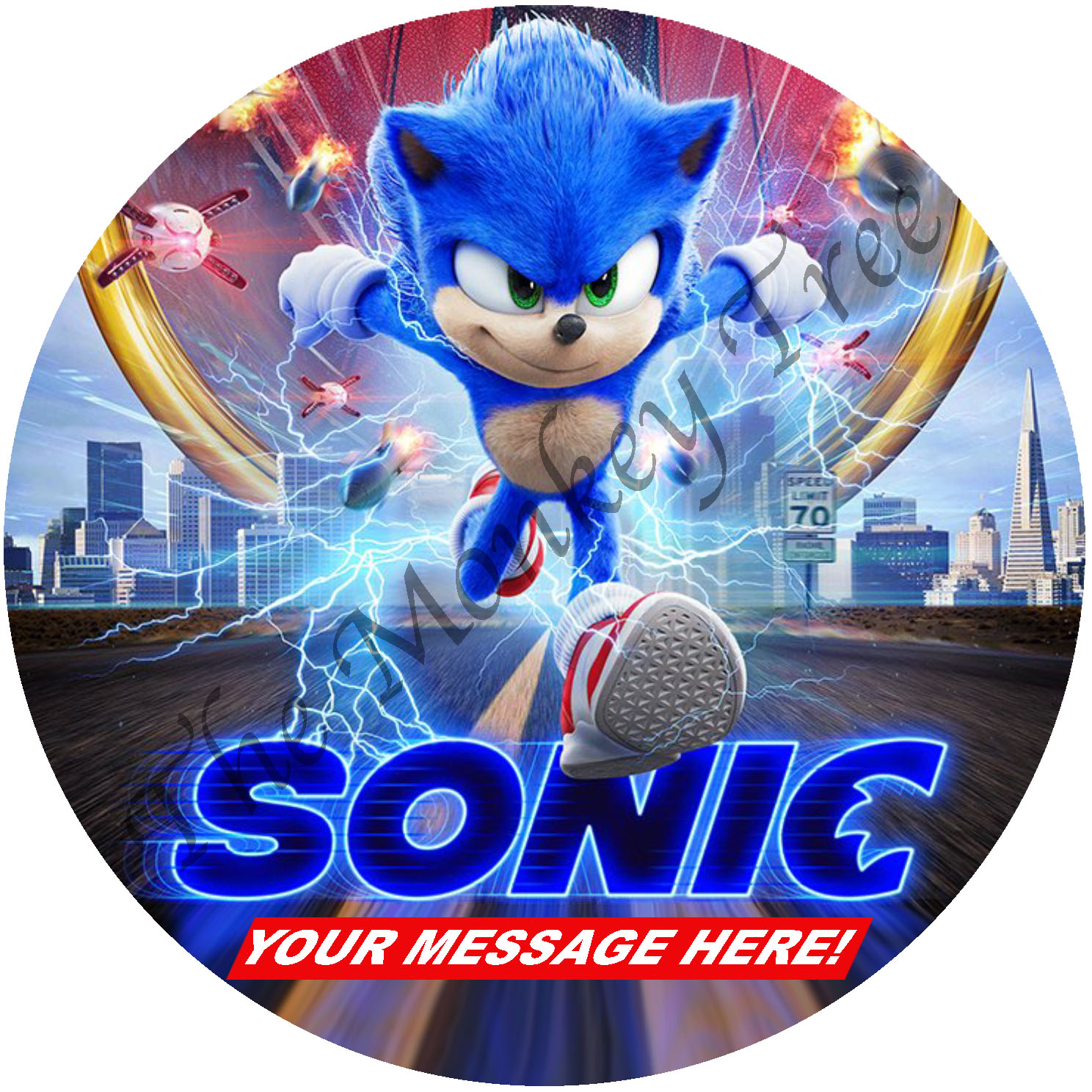 Sonic The Hedgehog Movie Edible Cake Image Topper Circle The