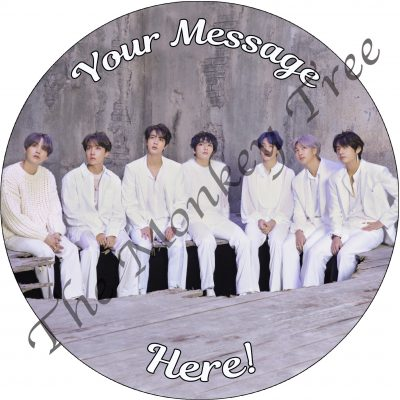 BTS bangtan boys music tour edible cake image topper birthday party disco k pop