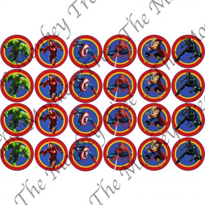 avengers cupcake edible image Spiderman hulk, cant America, Thor, black panther, iron man, birthday, cake