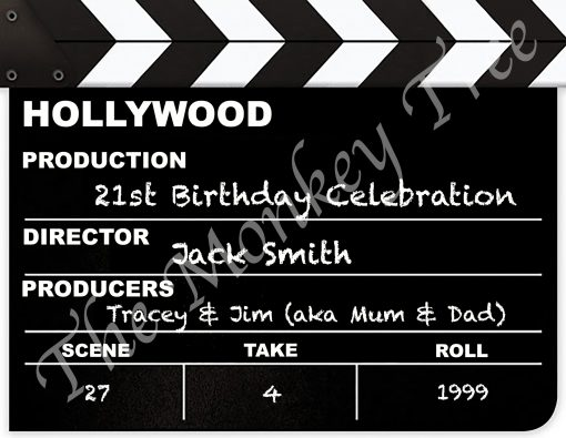 clapperboard Hollywood celebration edible cake image topper 21st 30th 40th 50th