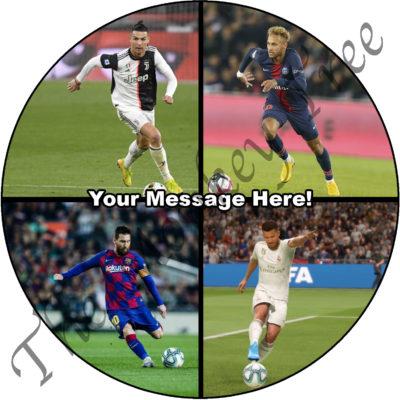 Ronaldo messi football fc barcelona edible cake image fondant soccer