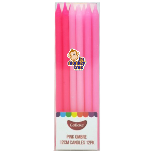 pink ombre tall candles birthday cake