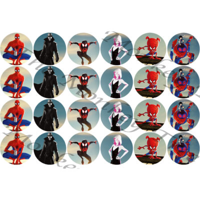 spiderman edible cake fondant icing image party superhero spiderverse cupcake