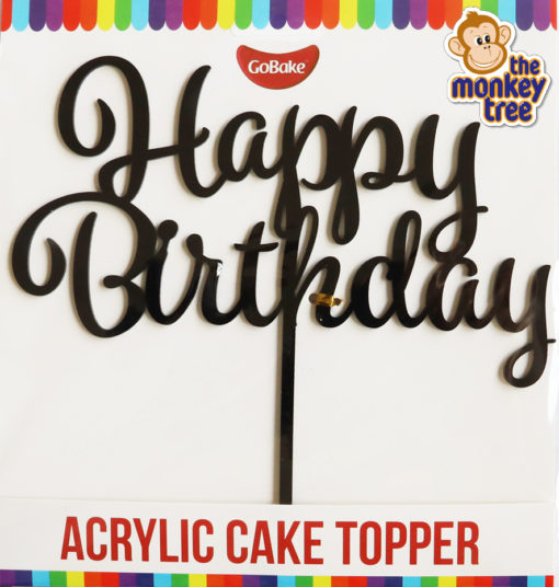 black satin finish happy birthday acrylic cake topper