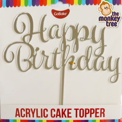 silver mirror finish happy birthday acrylic cake topper