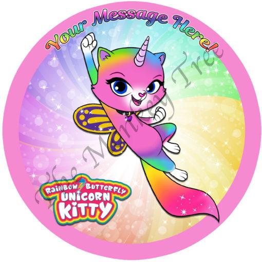rainbow butterfly unicorn kitty edible cake image topper