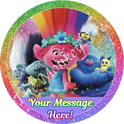 trolls world tour poppy movie cake edible topper fondant
