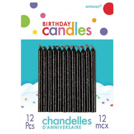 black glitter candles birthday cake cupcake