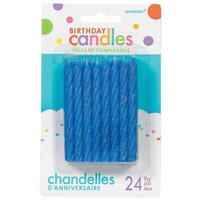 amscan blue twist candle birthday party cake table