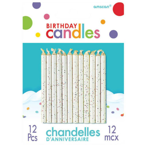 white glitter candles birthday cake party