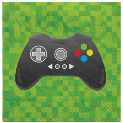 xbox, ps5, ps4, level up, gaming, Minecraft, among us, birthday, party, table, napkin