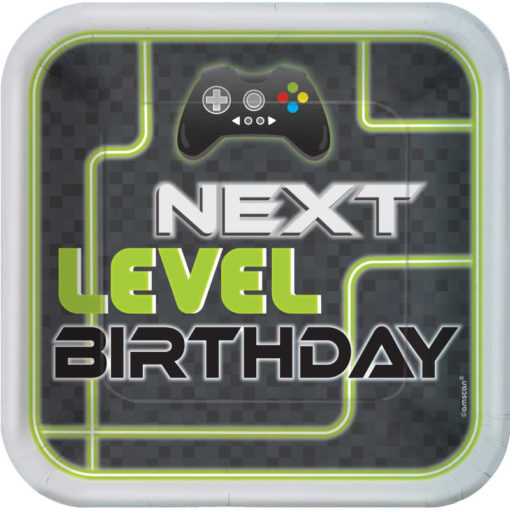 next level up gaming birthday party plates Minecraft