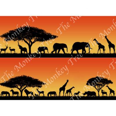 african savanna border edible cake topper wraparound side print