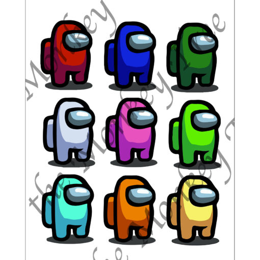 among us edible cake topper gaming fondant birthday stand up characters